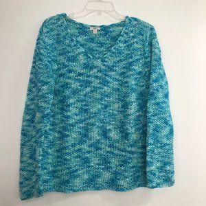J. Jill Turquoise Chunky Knit Vneck Petite Sweater